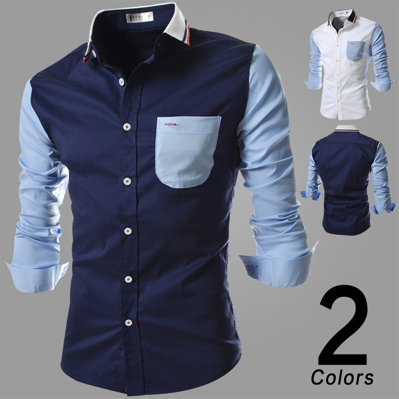 Purchasing Agents Korean-style Fashion Men Shirt Color Stripes Knit Collar Joint Long-sleeved Shirt Men'S Wear