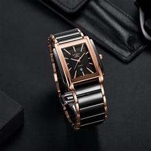 OUPAI 2020 New Rectangle Business Golden Black Ceramic Watch