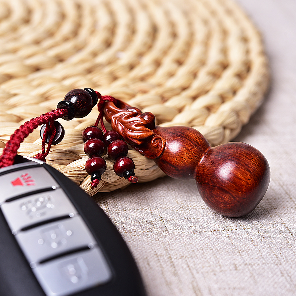 Ysk049 New Style Red Sandalwood Mahogany Carving Gourd Car Keychain Pendant Small Pendant Hanging Bag|Key Case for Car| |  - title=