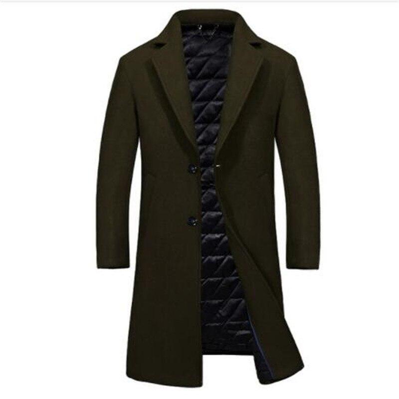 Одежда высшего качества из смески шерсти мужская куртка, пальто брендовая 2017 парка осенне зимние пальто мужской теплая длинная верхняя оде...