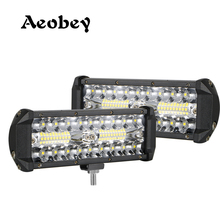 2pcs 7 inch led work light bar 120w led light bar 4x4 accessories off road for ATV UTV
