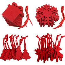 10pcs Felt Cloth Crafts Christmas Ornament Tree Decoration Party Red Non-Woven Elk Baubles New Year Xmas Christmas Home Decor(China)