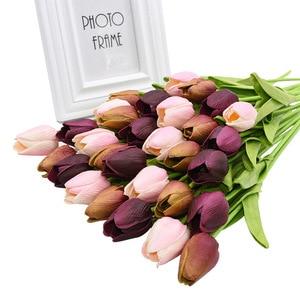 Image 3 - 30 chiếc Hoa Tulip Phối Màu Sắc Thực Cảm Ứng Cao Su Nhân Tạo Hoa cho Trang Trí Đám Cưới Nhà Đảng Trang Trí Bàn Tulip Hoa