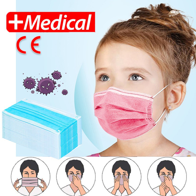 Children Face Masks 3 Layer Elastic Mouth Mask Anti-Flu Kids Disposable Mask Soft Breathable PM2.5 Nonwoven Blue Pink Boys Girls
