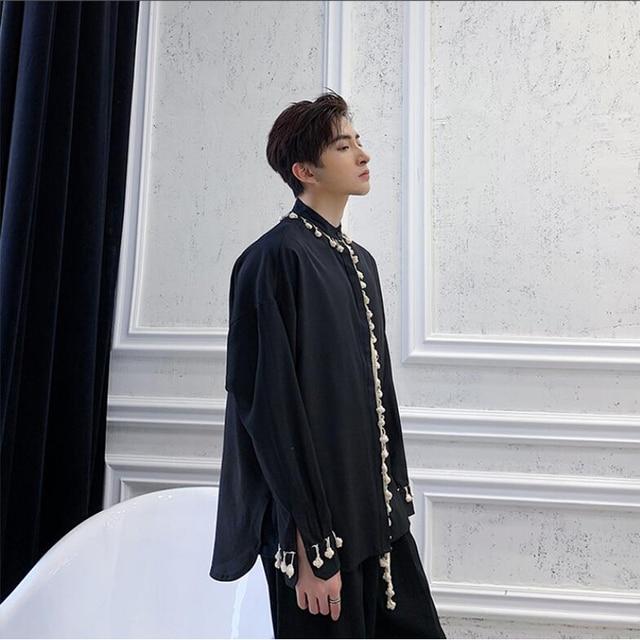 Shengyujin yamamoto 다크 블랙 틈새 셔츠 긴팔 술 디자인 루스 남성 셔츠 캐주얼 청소년 셔츠 트렌드