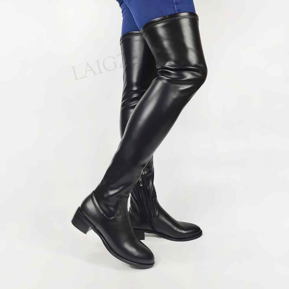 Womens Real Leather High Heel Block Shoes Over The Knee Thigh High Knight Boots