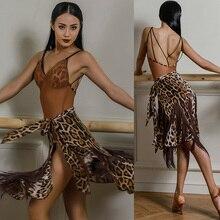 Платье для латинских танцев, сексуальное, леопардовое, Сетчатое, просвечивающее боди с бахромой, юбка для танго, сальсы, ча, ча, самбы, румбы, танцевальная одежда DNV11864