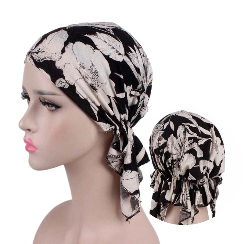 2020 New Fashion Print Woman Turban Hat Soft Elastic Flowers Lady Muslim Headdress Wrap Head Scarf Hijab Caps Turbante Female