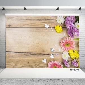 Image 3 - Photo Backdrop Colorful Flowers Wooden Board Custom Background for Children New Born Baby  Lovers Photography Props Photophone