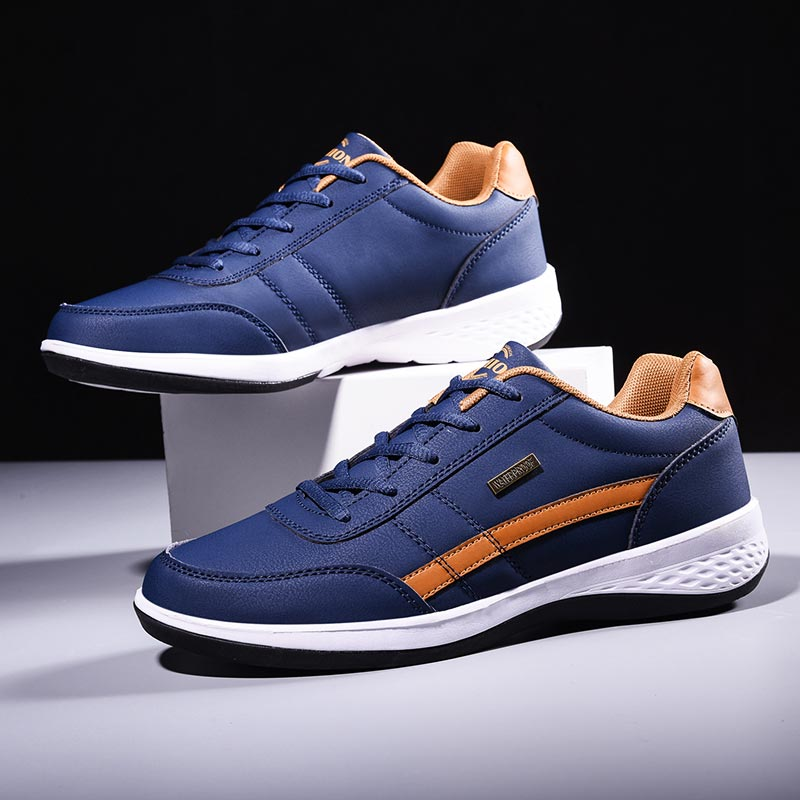 PU Leather Sneakers For Running Shoes For Men Sports Shoes Men Sport Shoes Male Trainers Blue Basket Training Footwear Gym A-374