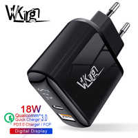 VVKing USB Charger 18W PD Fast Charge usb Type C PD Charger HD Smart Display EU Plug for iPhone 11 Pro Samsung Xiaomi Charging