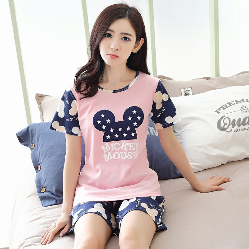 Korean-style Pajamas Female Summer Set Short Sleeve Two-Piece Set Summer Loose-Fit Fresh Students Sweet Cute Home Wear