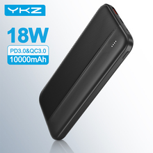 YKZ 10000mAh Powerbank Portable 18W Fast Charging External Battery For iPhone USB Type C PD+QC 3.0 Power Bank for Xiaomi Mi 9
