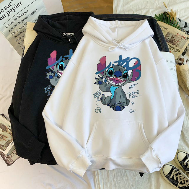 Disney Stitch Hoodies Women Harajuku Pullovers Cute Kawaii Casual Tops O-Neck Angel Print Hooded Sweatshirt Long Sleeves