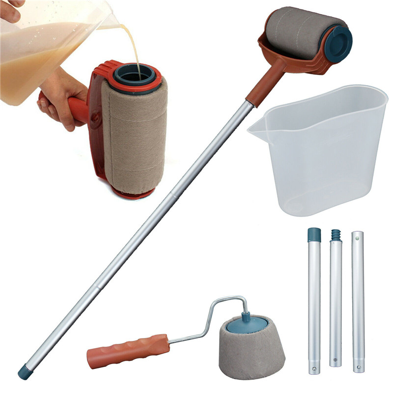 6PCS Paint Roller Brush Tools Set DIY Paint Roller Wall Brush Handle Flocked Edger Room Painting