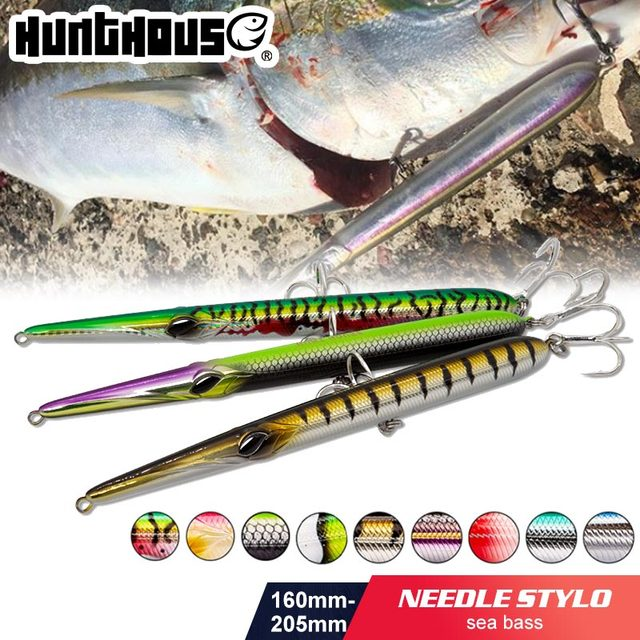 Hunthouse needle stylo fishing lure long casting pencil stickbait floating&sinking 205mm 31/36g skipping garfish sphyraena pesca