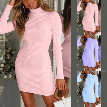 Autumn Winter Warm Long Sleeve Women Knitted Sweater Dress Pink Turtleneck Sweaters Pullover Jumper Female Clothes danjeaner autumn knitted sweater women spring loose long sweater dress winter basic dress warm female sweaters ladies pullovers