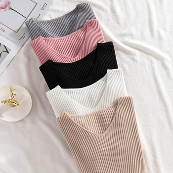 Long sleeve V-Neck High elasticity Slim Sweaters Women Ribbed Autumn Winter Jumpers Fashion White Pullovers Knitted casual Tops