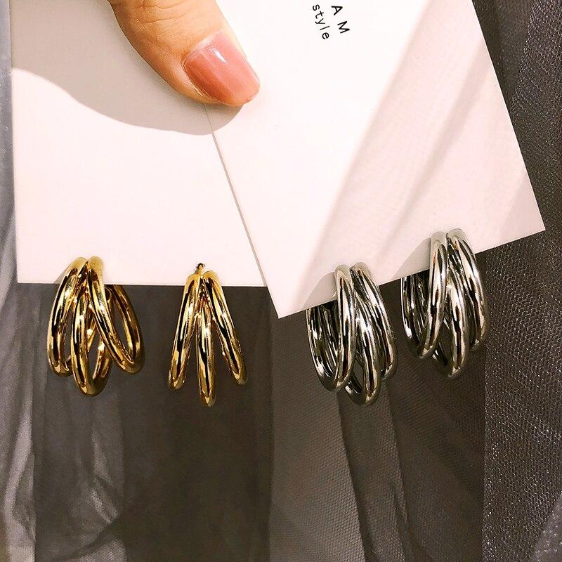 Корейский Металлический Простой Большой обруч erarings для женщин геометрические золотые серебряные цветные милые серьги-гвоздики модные юве...