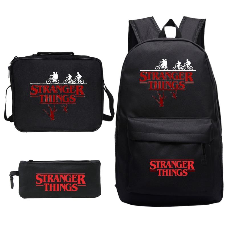 Stranger Things Backpack Women 3pcs/set Lunch Bag Pencil Case Bookbag School Bags For Teenage Girls Boy Laptop Travel Backpacks