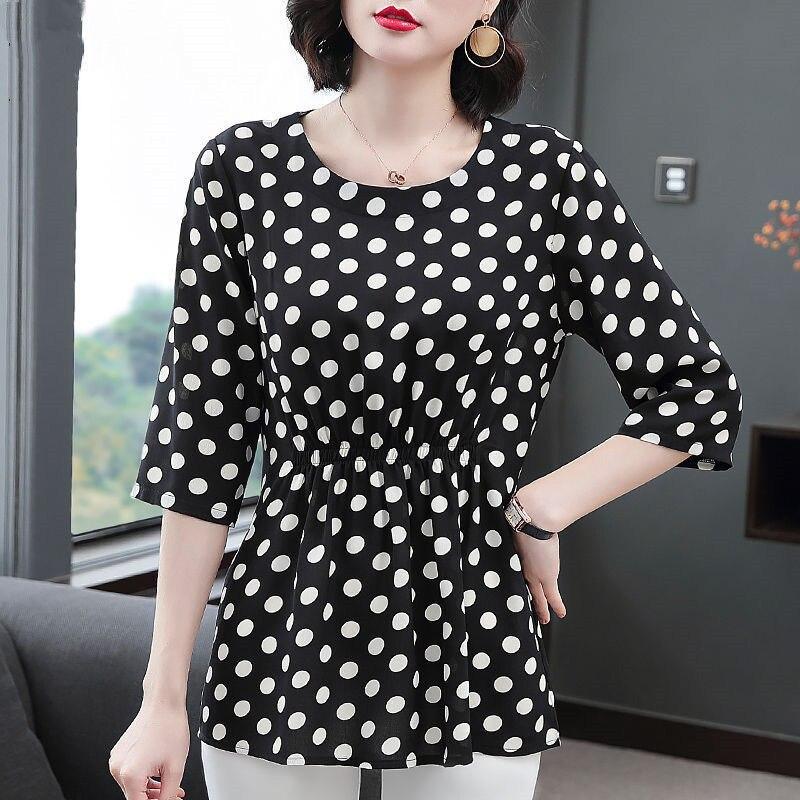 Women Spring Summer Style Chiffon Blouses Shirts Lady Casual Half Sleeve O-Neck Polka Dot Printed Blusas Tops DD8800 7
