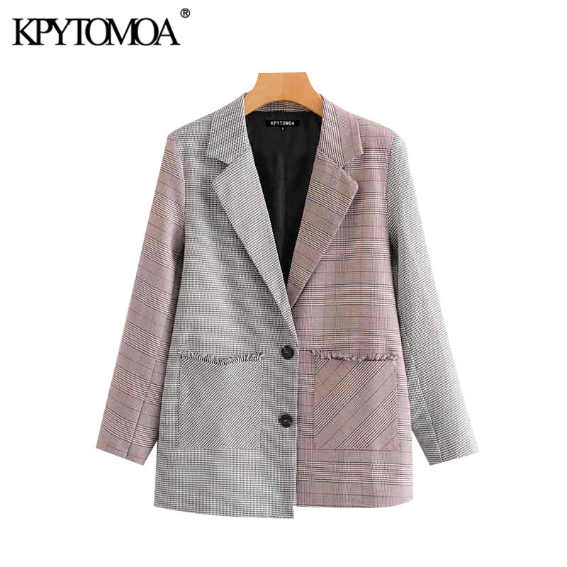 Vintage Stylish Patchwork Frayed Blazer Coat Women 2020 Fashion Long Sleeve Pockets Office Wear Outerwear Chic Tops