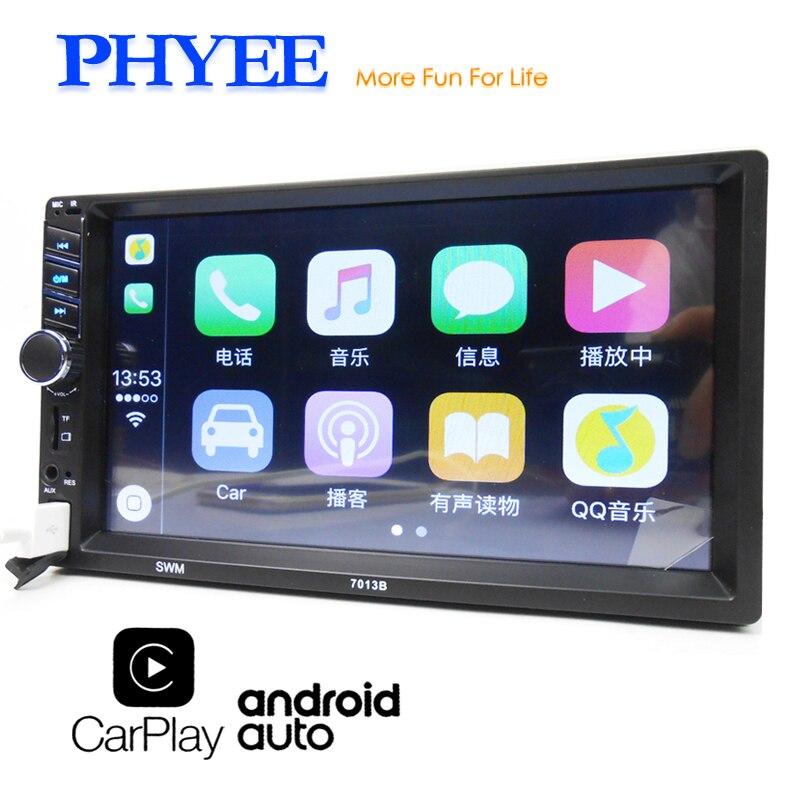 "2 din carplay rádio do carro android auto mp5 player de vídeo bluetooth handsfree usb 7 ""tela toque unidade de cabeça áudio estéreo phyee 7013b"