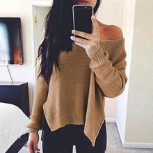 Fashion Women Solid V Neck Sweater Casual Long Sleeve Split Pullovers Autumn Winter Sweaters