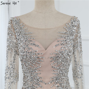 Image 5 - Dubai Silver O Neck Mermaid Evening Dresses Design 2020 Luxury Long Sleeves Sequins Beading Evening Gown LA70249