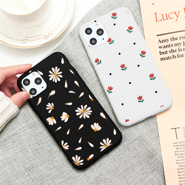 Flower Black White Matte TPU Phone Cases For iphone X XS Max XR 10 6 6S 7 8 Plus 5 5S SE Back Cover For iphone 11 Pro Max Funda