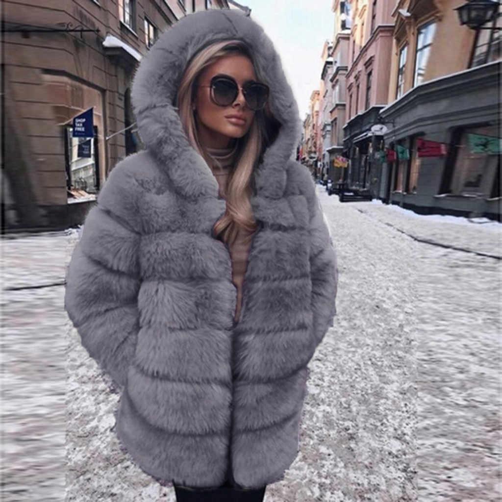 Женское модное роскошное пальто из искусственного меха с капюшоном, Осеннее зимнее теплое пальто