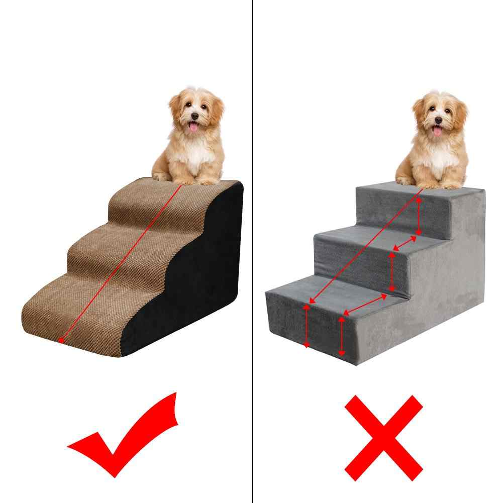 ADHW Pet Stairs Color : Beige 3 Non-Slip Steps Dog Cat Puppy Ladder for High Bed w//Washable Cover