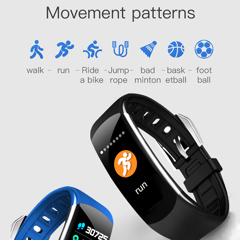 Bluetooth Smartwatch Smart Bracelet 0 96 inch Android IOS USB Charger Blood Heart Rate Monitor IP68 Waterproof C4pro Blue in Smart Wristbands from Consumer Electronics