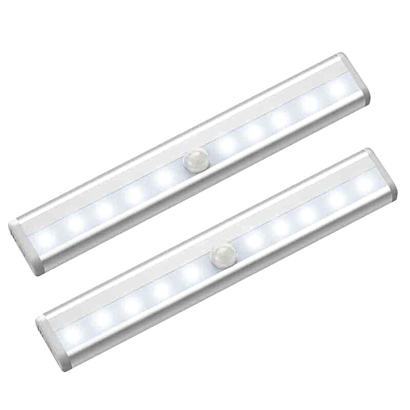LED Motion Sensor Night Lights For Under Cabinet Closet Kitchen Cupboard Shelf Lighting WWO66