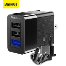 Baseus Universal USB Charger 2.4A Travel Adapter Wall Power Charger For iPhone Samsung S9 S8 Xiaomi,Free Switch to EU/US/UK Plug