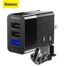 Baseus universal usb carregador adaptador 2.4a viagem parede carregador de telefone energia para iphone samsung xiaomi interruptor livre para ue/eua/reino unido plug
