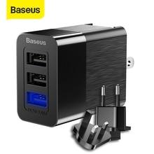 Универсальное USB зарядное устройство Baseus, адаптер 2.4A для путешествий, настенное зарядное устройство для телефона, для iPhone, Samsung, Xiaomi, бесплатная доставка, штепсельная вилка EU/US/UK
