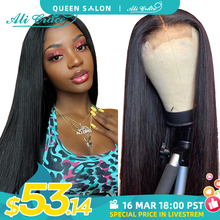 Ali Grace Bone Straight Human Hair Wigs 4x4 Closure Wig with Baby Hair Brazilian Pre-Plucked 13x4 Lace Front Human Hair Wigs