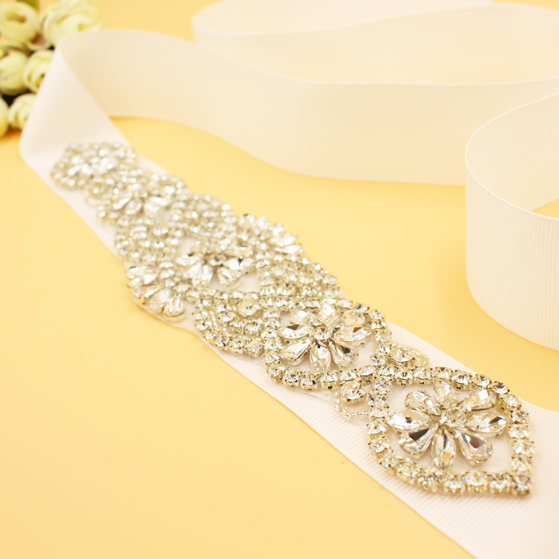 Fashion Crystal Bridal Sash Pearls Wedding Dress Waistband Silver Color Dress Belt Accessories