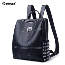 ZOOLER Genuine Leather Backpacks Women Luxury Soft Real Cow Backpack for Girls Black Fashion Bagpack Female Designer Bag