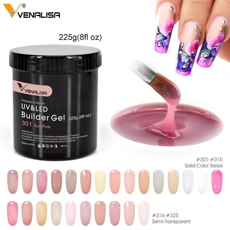 Venalisa бренд 225 г французские акриловые ногти отмачиваемый светодиодный Камуфляжный цвет жесткое желе быстросохнущее наращивание ногтей гел...