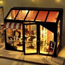 Новый DIY моды маникюрный салон волос деревянный салон кукольный домик миниатюрная мебель со светодиодной наборы кукольные дома сборные игр...