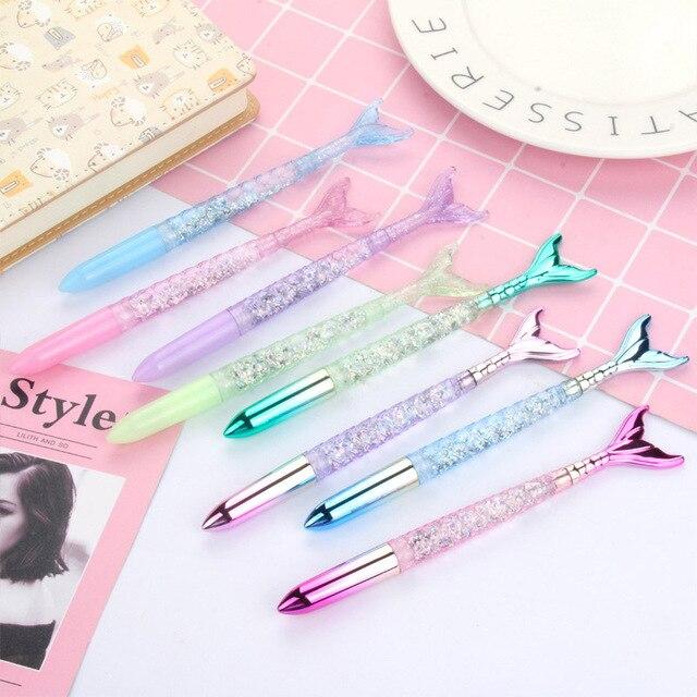 1Pc Creative Gradient Ballpoint Pen Kawaii Cute Mermaid Pen Novelty Ball Pen For Kids Gifts School Office Stationery Supplies 5