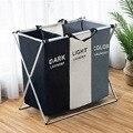 X-Form Faltbare Schmutzige Wäsche Korb Organizer Gedruckt Faltbare Drei Grid Hause Wäsche Korb Sorter Wäsche Korb Große