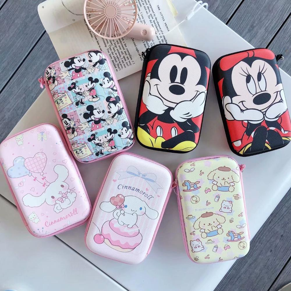 Cartoon Mickey Zipper Headphone Case Portable Earbuds Box PU Leather Mobile Power Bag Protective USB Cable Organizer Coin Purse