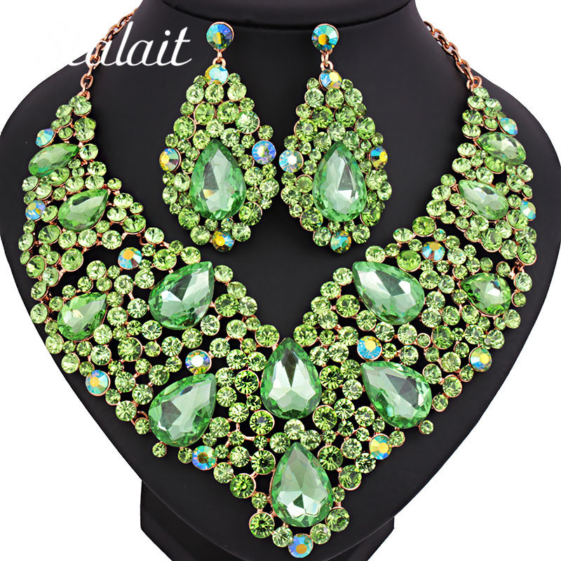 Big Statement Luxury Austria Crystal Green CZ Bridal Jewelry Sets Gold Color Necklace Earrings Dubai Wedding Women Costume Sets