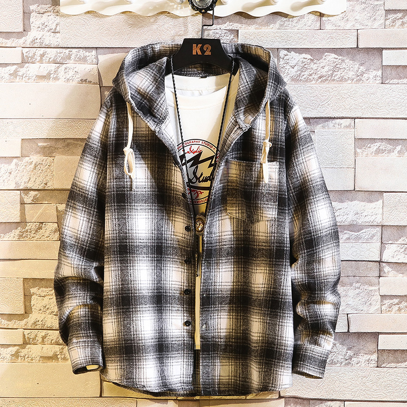 Casual Brand With Hooded Plaid Men' Fleece Shirts Long Sleeves 2020 New Spring Autumn Shirt OverSize M-6XL