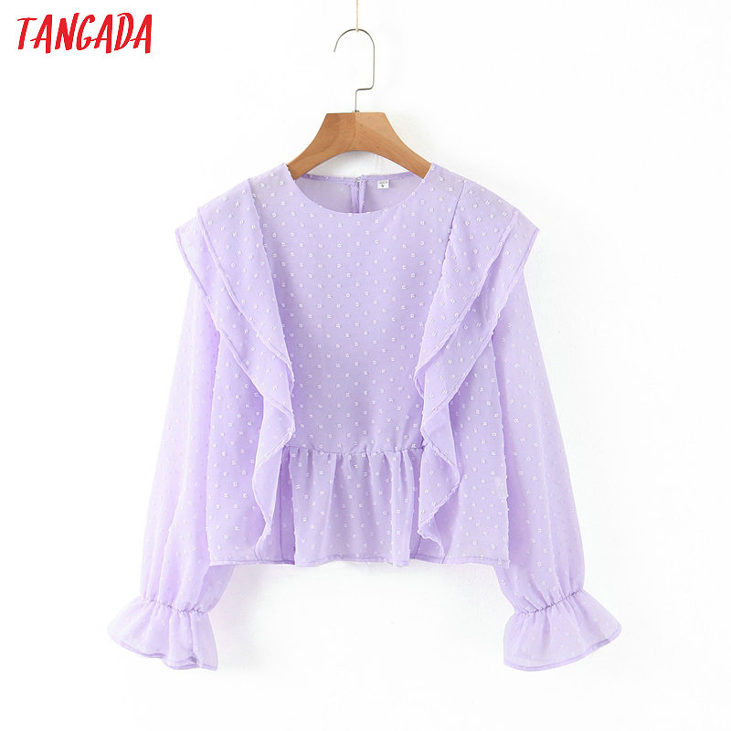 Tangada Women Ruffles Purple Mesh Blouse Short Style 2020 Fashion Long Sleeve Shirts Female Chic Tops SL217