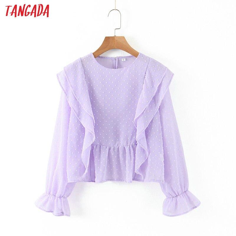 Tangada Women Ruffles Purple Mesh Blouse Short Style 2020 Fashion Long Sleeve Shirts Female Chic Tops SL217