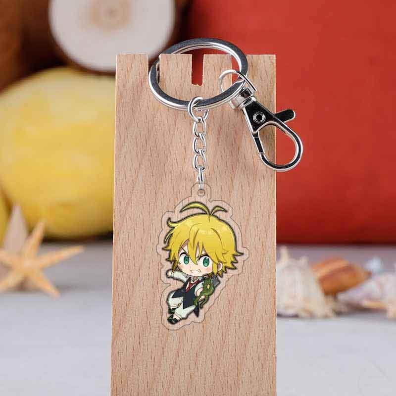 Anime The Seven Deadly Sins Keychain Cartoon Figure Nanatsu No Taizai Acrylic Bag Pendants Car Key Chains Holder